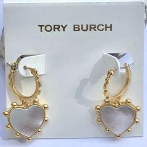 Tory Burch Earrings Heart Hoops Gold New
